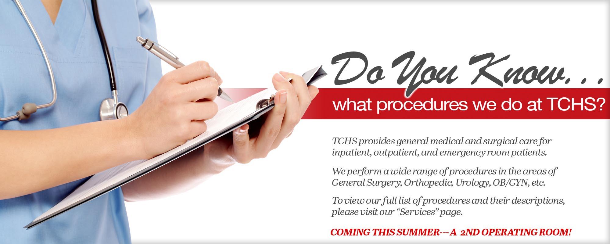 Procedures at TCHS
