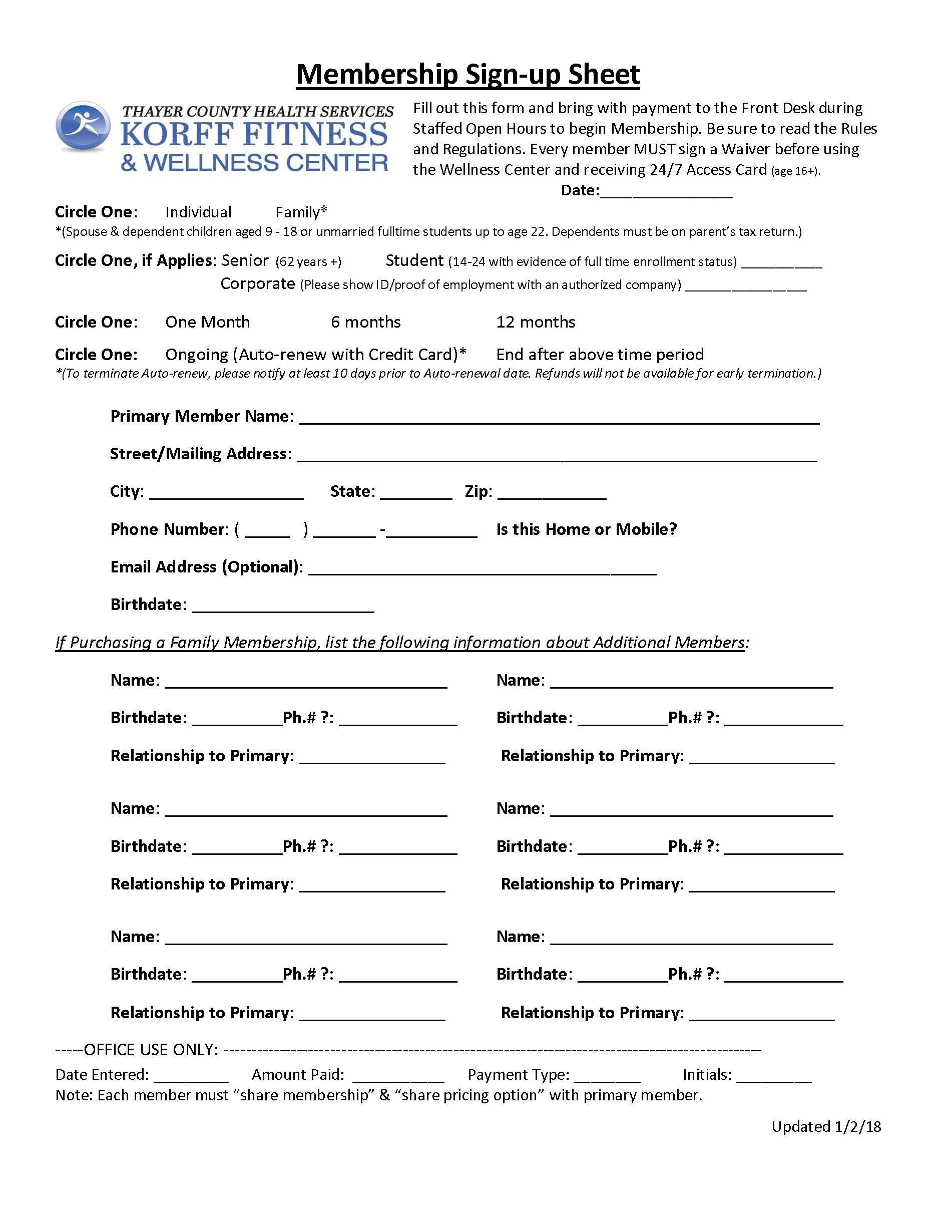membership sign up sheet thayer county health