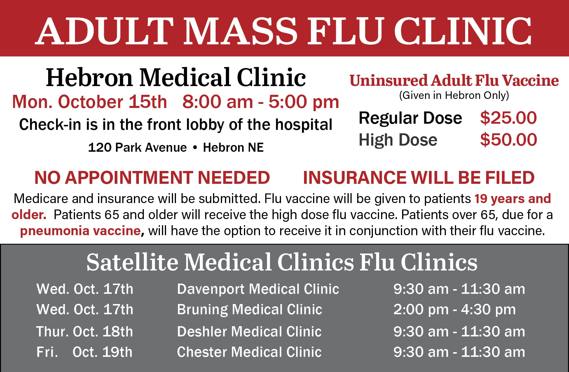 Adult Flu Clinic - Bruning