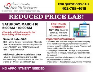 Reduced Price Lab Event @ Thayer County Health Services: main lobby