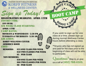 Boot Camp Fitness Classes @ Korff Fitness and Wellness Center