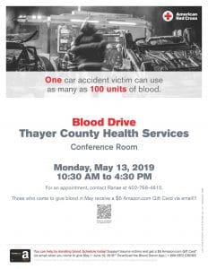 Blood Drive @ Thayer County Health Services: Cafeteria Conference Room