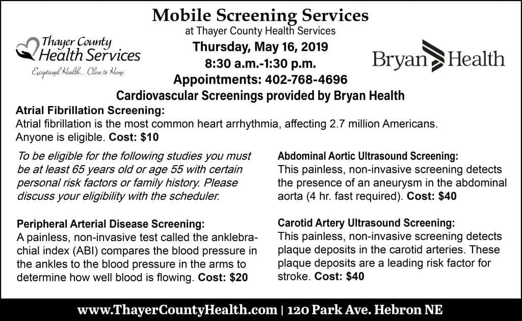 Cardiovascular Screenings | Thayer County Health