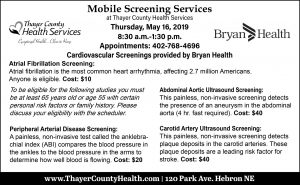 Cardiovascular Screenings @ Thayer County Health Services