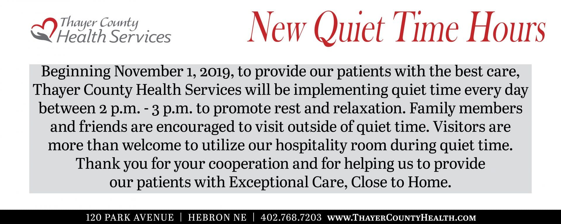 New Quiet Time Hours