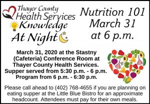 Cancelled Knowledge at Night @ Thayer County Health Services: Stastny (Cafeteria) Conference Room
