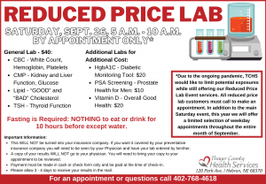 Reduced Price Lab Event @ Thayer County Health Services