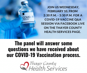 Facebook Live COVID-19 Vaccine Q&A @ Thayer County Health Services Facebook Page
